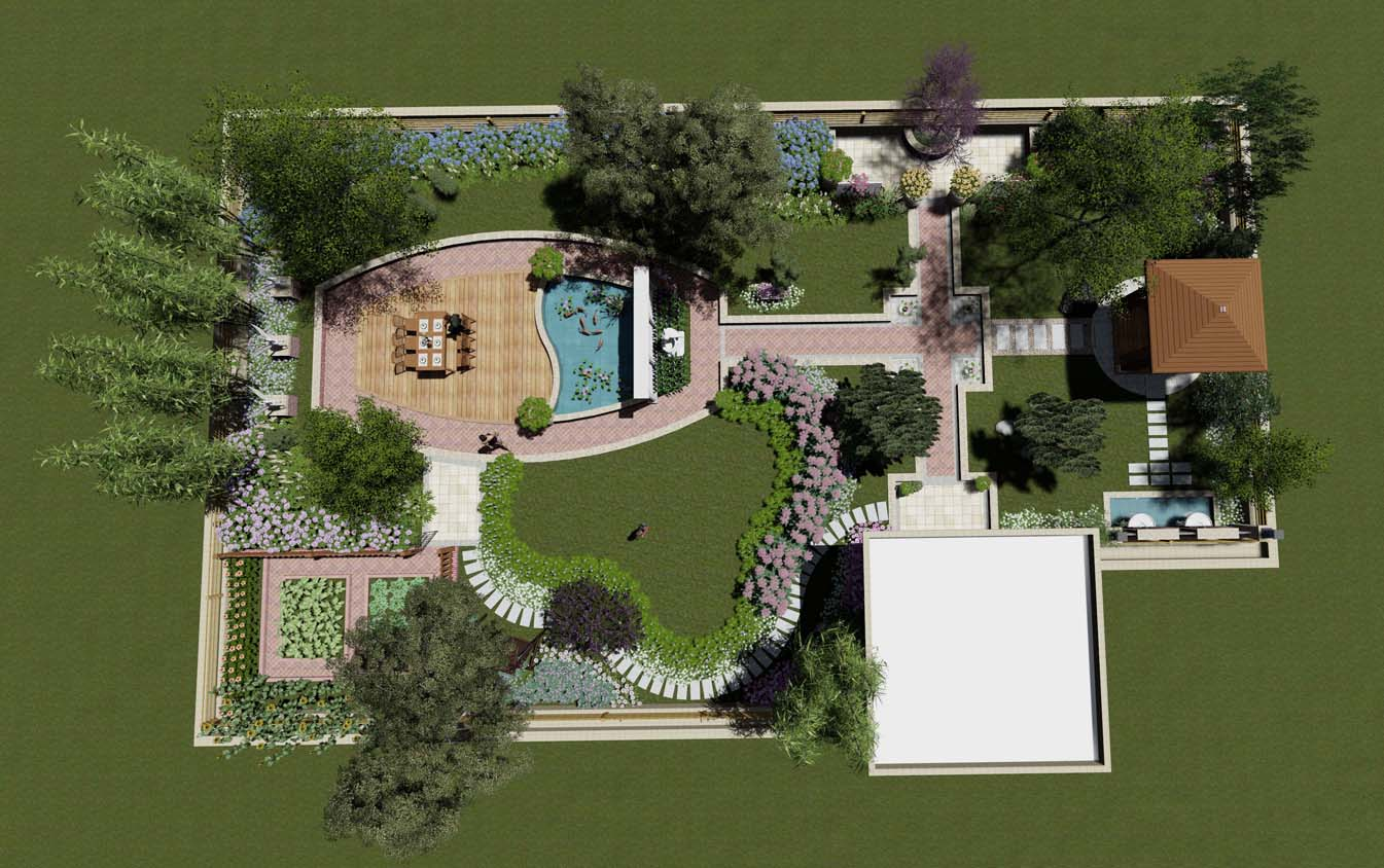 受朱先生委托,筑意景观设计此屋顶花园,设计手法上采用规整布局,局部采用自然形式,色调以暖色为主,采用艺术红砖,黄锈石,木色等突出花园温馨的氛围,空间上安排了木亭,鱼池,景墙,水景,雕塑,达到一步一景的景观目的,并按业主要求,布置一小隅作为菜地之用,利用木格栅进行分隔,不失田原风味,因屋顶承重问题,重要景观均安排在柱体位置,局部位置堆坡,种植小型乔木,如造形罗汉松,配以景石,打造安静,温馨的一个环境。