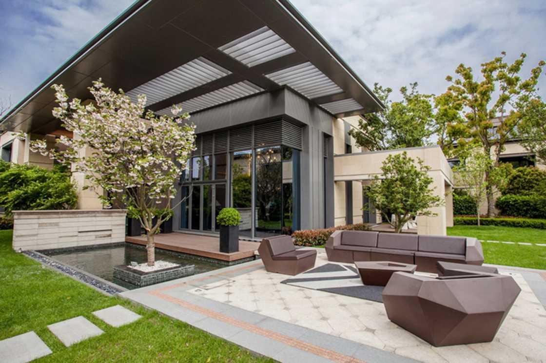 景墙园林景观效果,别墅私家花园设计,阳台花园设计,屋顶花园设计,筑意